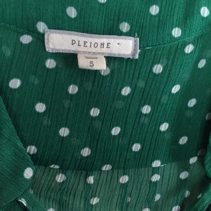Pleione Tops - Pleione | Bright Green Blouse with Polka Dots